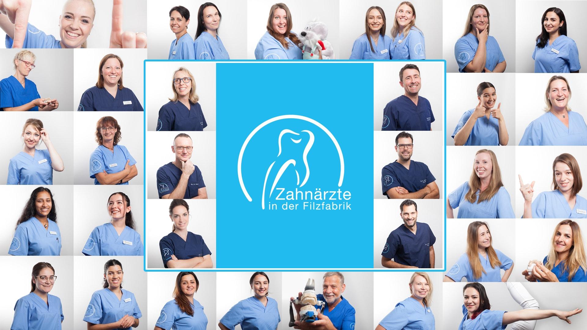 Zahnaerzte in der Filzfabrik Speyer Zahnearzte Mitarbeiter Kollage EinstarkesTeam